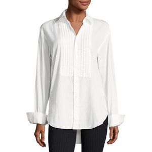 Burberry Jaden Big Shirt Pintucked Front White NWT